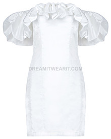 Puff Bardot Satined Dress White