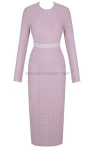 Long Sleeve Pearl Midi Dress Lavender