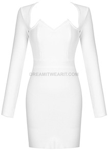 Long Sleeve Sweetheart Dress White