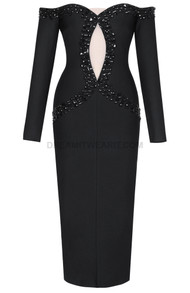 Long Sleeve Embellished Bardot Midi Dress Black