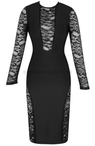 Long Sleeve Lace Midi Dress Black