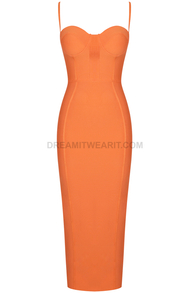Bustier Structured Midi Dress Orange