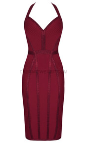 Halter Sparkly Midi Dress Burgundy