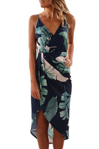 Floral Print Midi Dress Navy Green