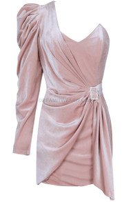 One Sleeve Ruched Velvet Dress Nude Pink