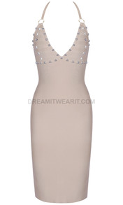 Halter Studded Dress Nude