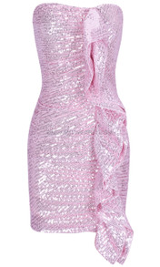 Frill Sequin Strapless Ruched Dress Pink