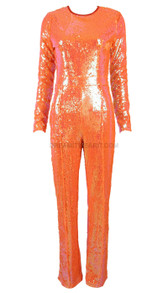 Long Sleeve Sequin Jumpsuit Orange