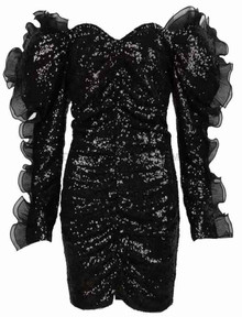 Long Sleeve Frill Sequin Dress Black