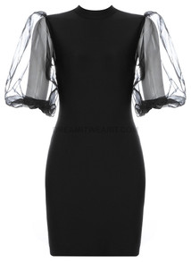 Mesh Short Sleeve Dress Black