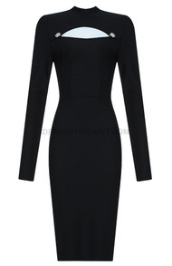 Long Sleeve Button Cut Out Midi Dress Black