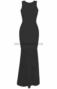 Backless Lace Maxi Dress Black