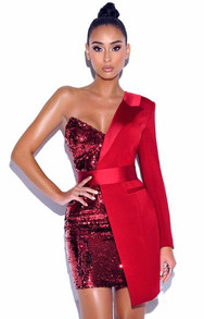 One Sleeve Sequin Blazer Dress Red