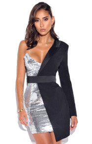 One Sleeve Sequin Blazer Dress Black Silver