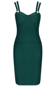 Double Strap Bustier Midi Dress Green