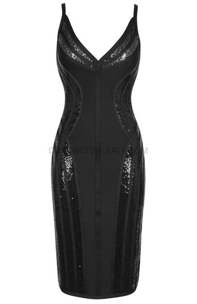 Sequin Insert Structured Midi Dress Black