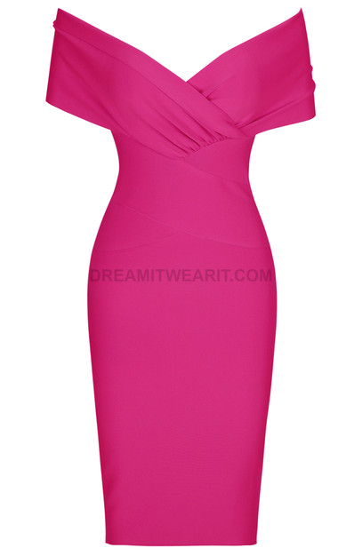 Cross Over Draped Bardot Dress Pink