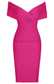 Cross Over Draped Bardot Dress Pink