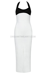 Halter Midi Dress Black White