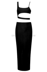 Asymmetric Two Piece Midi Dress Black