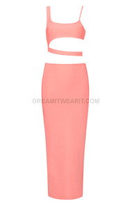 Asymmetric Two Piece Midi Dress Pink