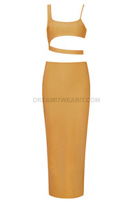 Asymmetric Two Piece Midi Dress Mustard