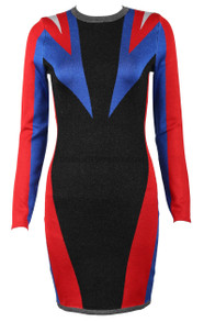 Long Sleeve Dress Black Blue Red