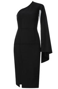 One Cape Sleeve Midi Dress Black