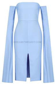 Cape Sleeve Bardot Midi Dress Light Blue