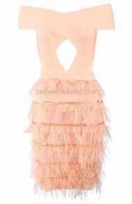 Bardot Feather Dress Salmon
