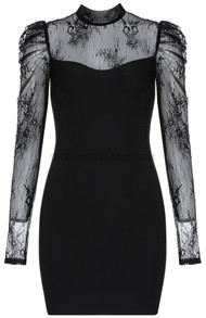 Lace Puff Sleeve Dress Black