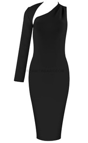 One Sleeve Asymmetric Midi Dress Black