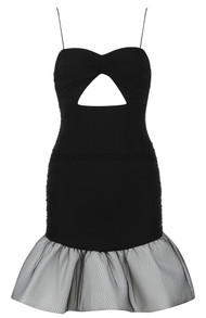 Ruched Fluted Dress Black