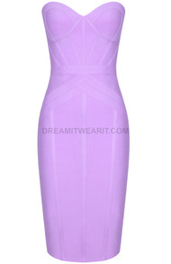Strapless Midi Dress Lilac