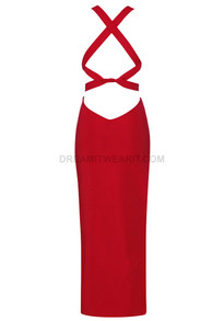 Strappy Midi Dress Red