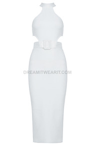 Halter Belt Midi Dress White