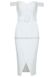 Bardot Bustier Belt Midi Dress White