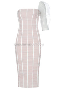 One Sleeve Mesh Midi Dress Nude White