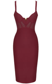 Structured Mesh Midi Dress Burgundy