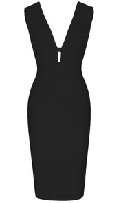 Ribbed Plunge V Neck Midi Dress Black