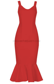 Fluted Midi Dress Red
