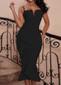 Frill Detail Fluted Midi Dress Black