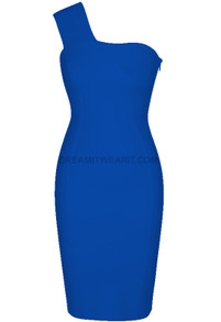One Shoulder Bardot Midi Dress Blue