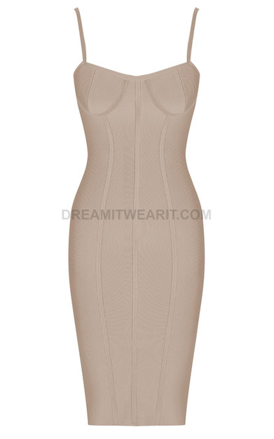 Structured Bustier Midi Bandage Dress Nude
