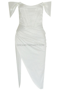 Bardot Structured Draped Midi Satin Dress White