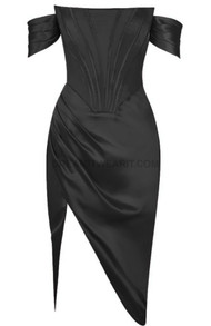 Bardot Structured Draped Midi Satin Dress Black