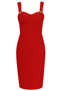 Double Strap Bustier Midi Dress Red