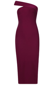 One Shoulder Midi Dress Burgundy
