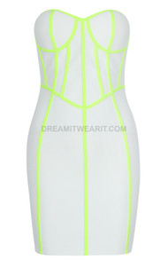 Strapless Bustier Dress White Neon