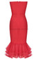 Strapless Fluted Mesh Midi Dress Red